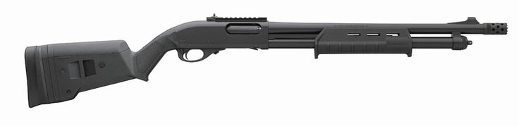 Remington 870 Express Tactical Magpul 12GA Shotgun (81209) Mfg #: 81209; Magpul Stock Barrel Length: 18.5in. Barrel Type: Rifle Sight Rem® Choke Tried and true 870 receiver milled from solid steel;18.5″ barrel with extended tactical choke tube; Receiver and barrel features tough, weather resistant Cerakote coating One piece magazine tube;Fully adjustable XS Ghost Ring Sight