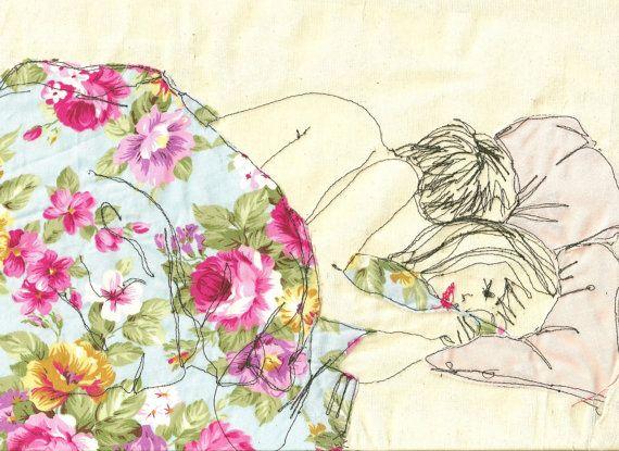 Impression d'une illustration brodée par Sarah Walton