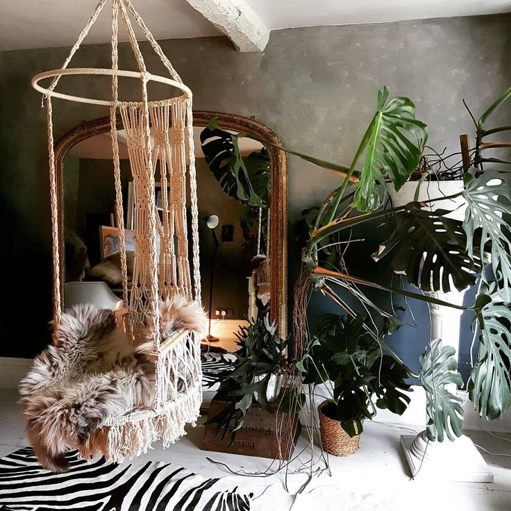 Dark interior with swinging seat and cheese plant from Cowboy Kate