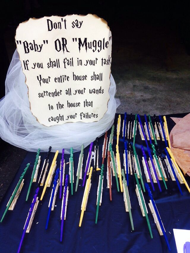 "A Harry Potter spin on an old baby shower game!  I used shortened chop sticks, and paint to make the ""wand""; and hot glued them to the good ol' fashion clothes pins. ""Don't Say Baby"" was a little different in this Wizards world. Us Muggles had a lot of fun!"