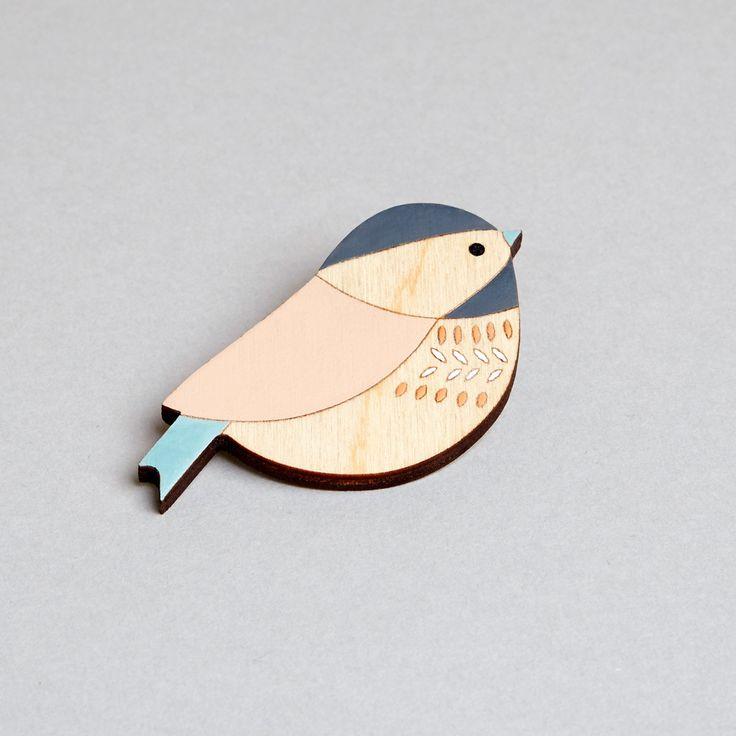 Wooden Bird Brooch - Bird Brooch - Coaltit (15.00 GBP) by AnnaWiscombe