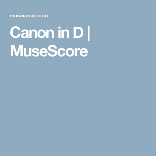 Canon in D | MuseScore