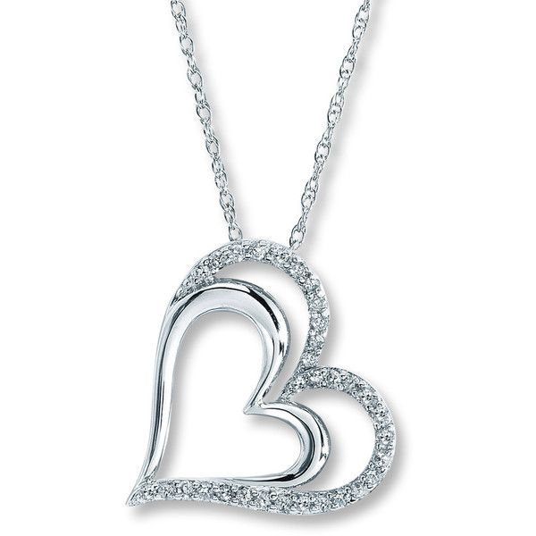 Diamond Heart Necklace 1/4 ct tw Round-cut Sterling Silver ($99) ❤ liked on Polyvore