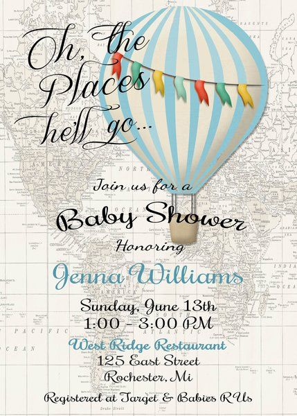 Hot Air Balloon Invitation Baby Boy Shower Invitation