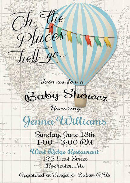 Hot Air Balloon Invitation Baby Boy Shower Invitation