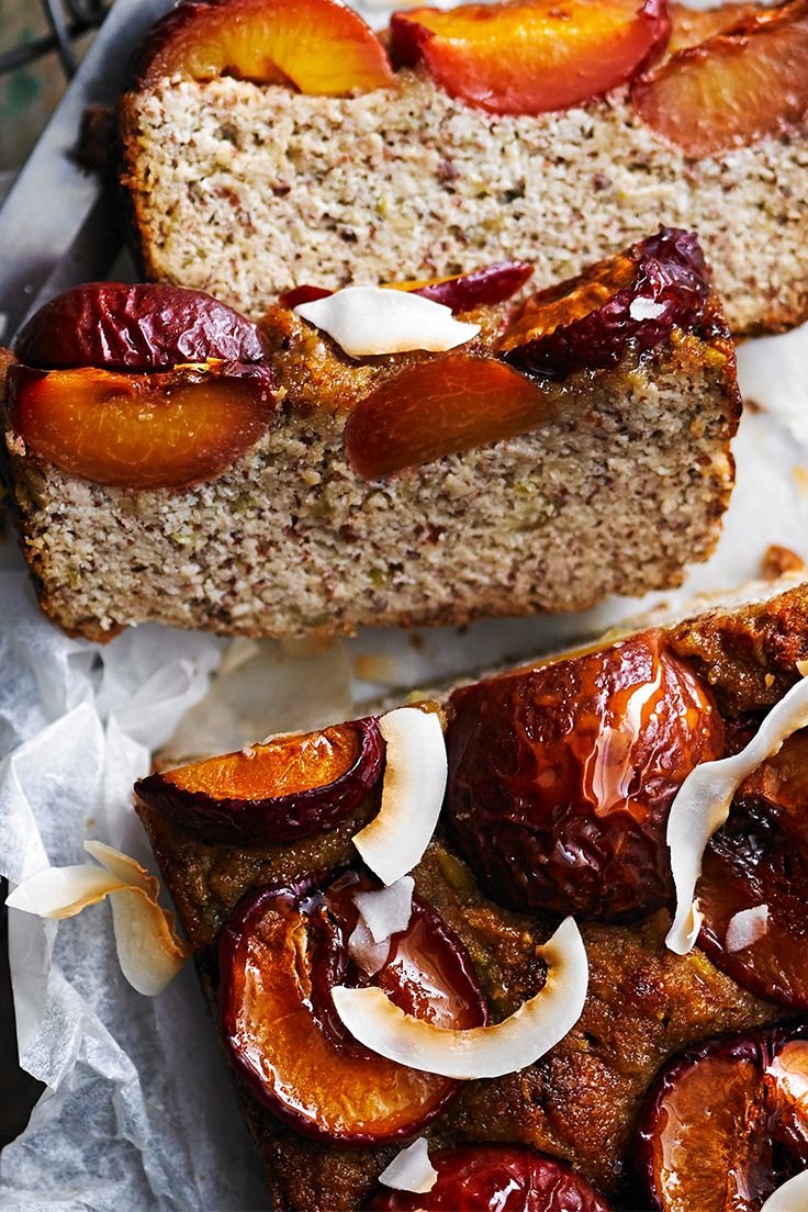 This divine almond, plum and orange blossom loaf is made without flour to produce a lighter, gluten-free alternative to many traditional fruit loaves. It is packed full of flavour and is gorgeous served warm with a pot of tea.