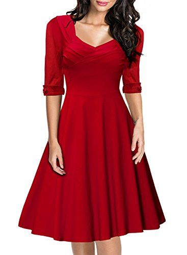 Miusol Women's Retro Hepburn Design 50 % Sleeve Swing Bridesmaid Dress