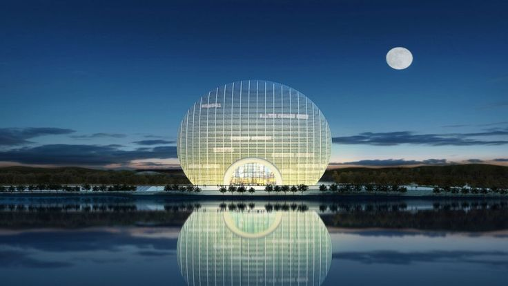 """""""The strangest hotels around the world.  The Sunrise Kempinski Hotel in Beijing, is located on the shores of China's Yanqi Lake and offers breathtaking views of the Yanshan Mountains and the Mutianyu Great Wall."""""""