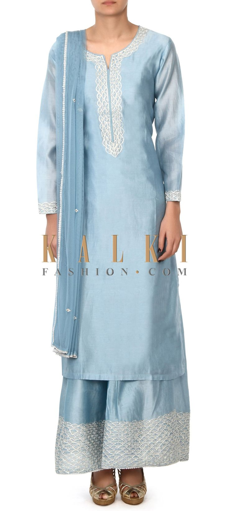 Buy this Mint blue straight suit in gotta lace embroidery only on Kalki