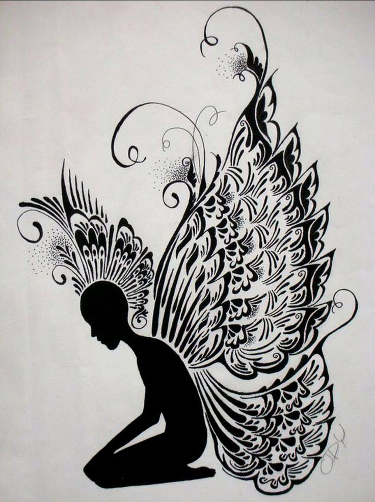Angel ink drawing by ody fernandez