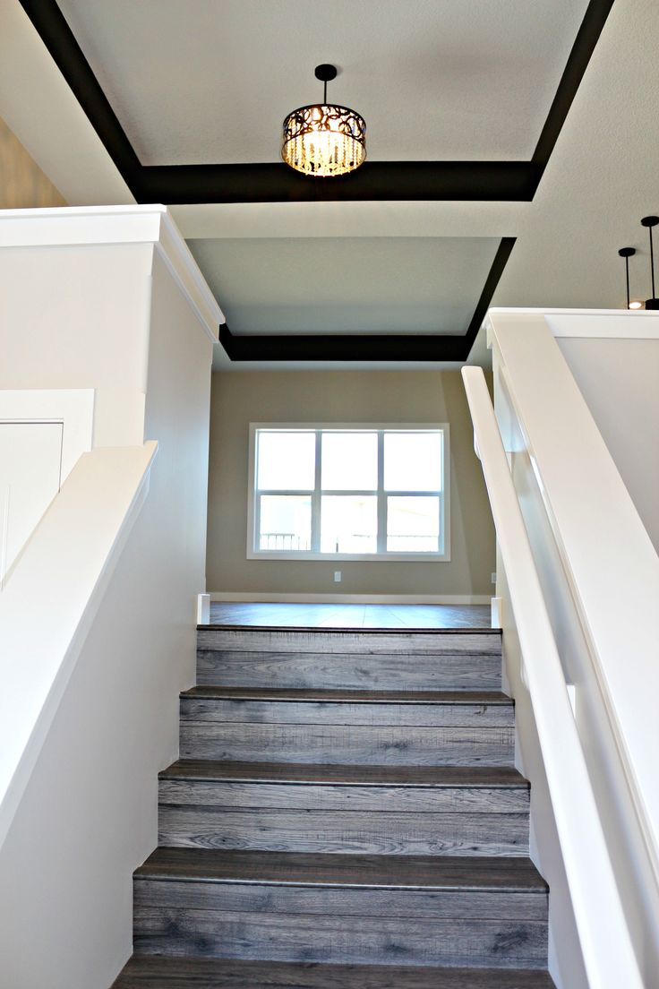 Love the dark paint accent on the ceiling!