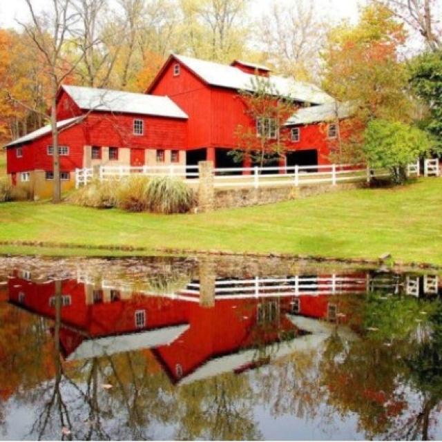 Stream and Barns