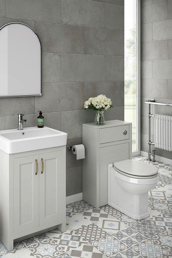 Chatsworth Traditional Grey Sink Vanity Unit Toilet Package Small Grey Bathrooms Light Grey