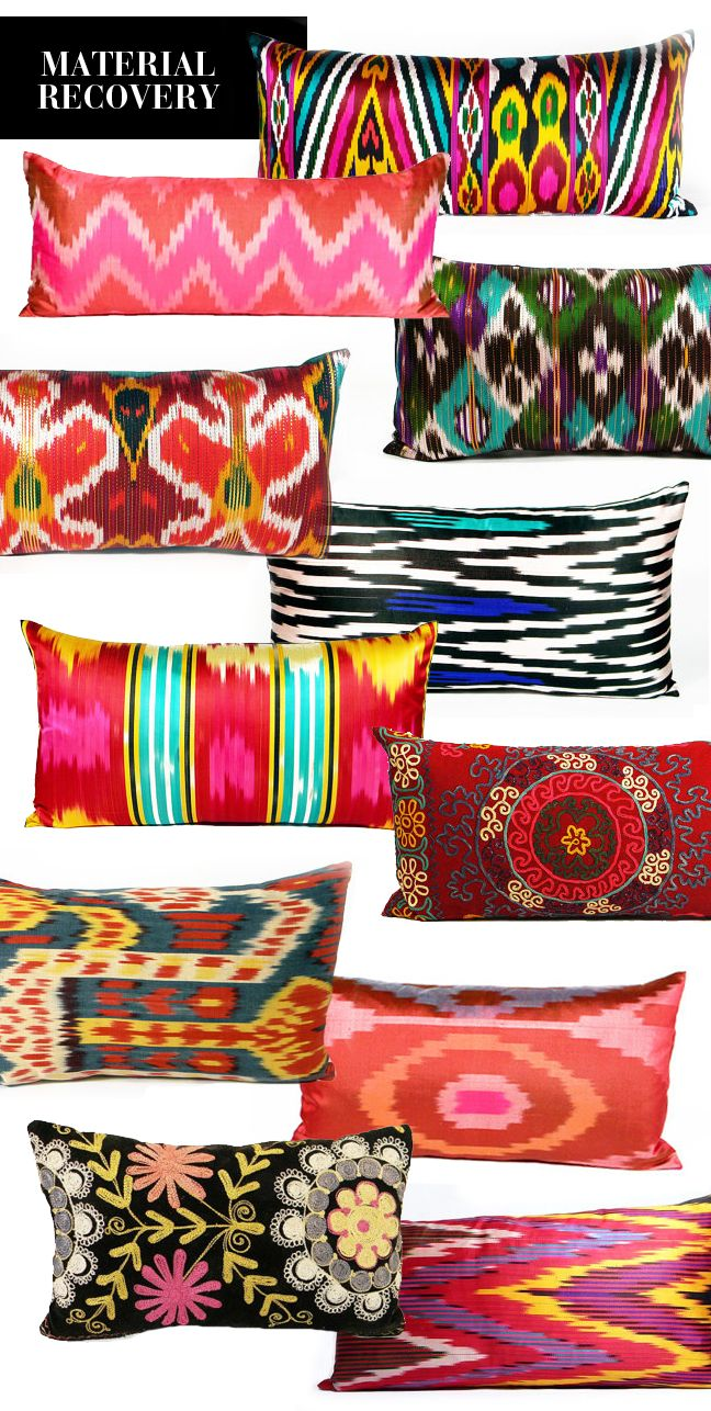 Pillows: Boho Print Pillows from Material Recovery