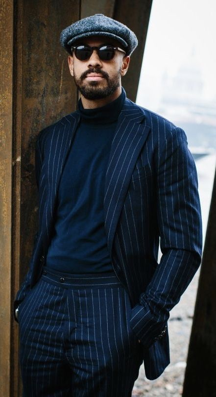 Black pinstripe suit black turtleneck sunglasses gray herringbone flatcap.  model unknown.  suit  menswear  gentlemen  classy  menstyle  mensfashion   flatcap ... 2155c2245f7