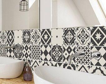 Geometrische Greyscale tegels - Wall - trappen - tegel Stickers ...