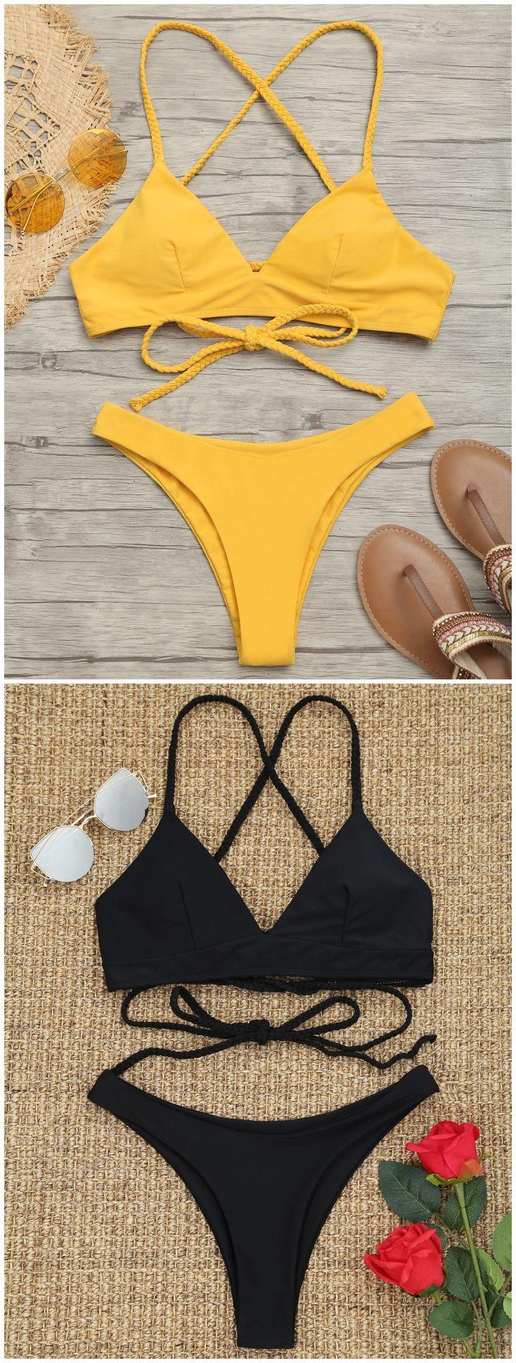 Up to 80% OFF! Plaited Cami Cross Back Bikini Set. #Zaful #swimwear Zaful, zaful bikinis, zaful dress, zaful swimwear, style, outfits,sweater, hoodies, women fashion, summer outfits, swimwear, bikinis, micro bikini, high waisted bikini, halter bikini, crochet bikini, one piece swimwear, tankini, bikini set, cover ups, bathing suit, swimsuits, summer fashion, summer outfits, Christmas, ugly Christmas, Thanksgiving, Gift, New Year Eve, New Year 2017. @zaful Extra 10% OFF Code:ZF2017