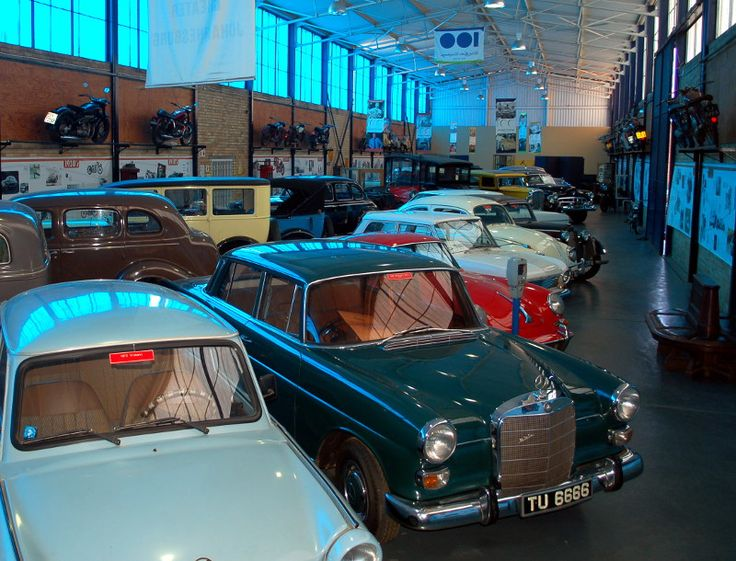 Display hall with a variety of motorcars - St. James Hall Museum of Transport, Johannesburg, South Africa