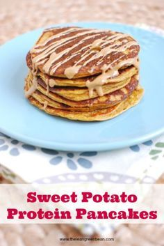 These Sweet Potato Protein Pancakes are made with protein rich ingredients like cottage cheese and eggs. No protein powder required and they make a great breakfast or post workout snack.