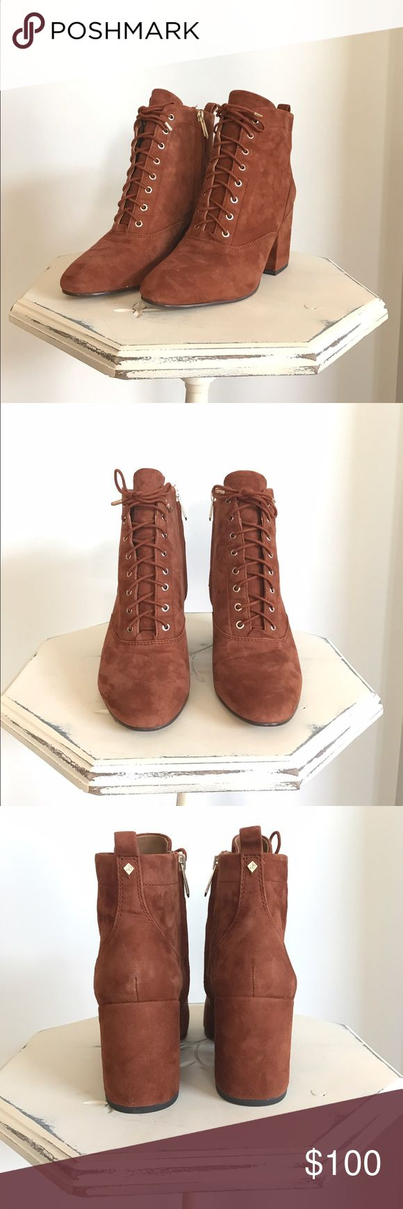 Sam Edelman Tate Lace-Up Bootie NWT Tate ankle boot in a gorgeous cinnamon color with a block heel and suede finish. These are so stylish and go with just about anything. Heel height 2.75 inches. New and never worn in original box. Sam Edelman Shoes Ankle Boots & Booties