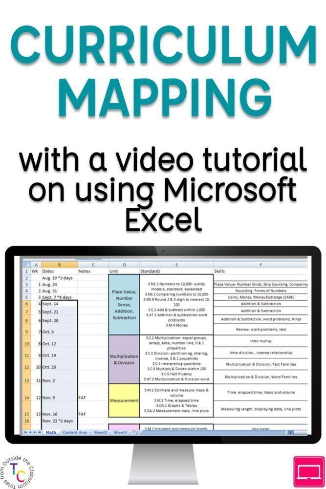 Curriculum Mapping With Excel Curriculums Pensamientos Y Ventas