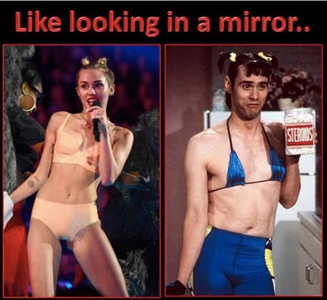 Hilarious!!!! ;-D Miley Cyrus in the future = Jim Carrey  (In Living Color) vmas