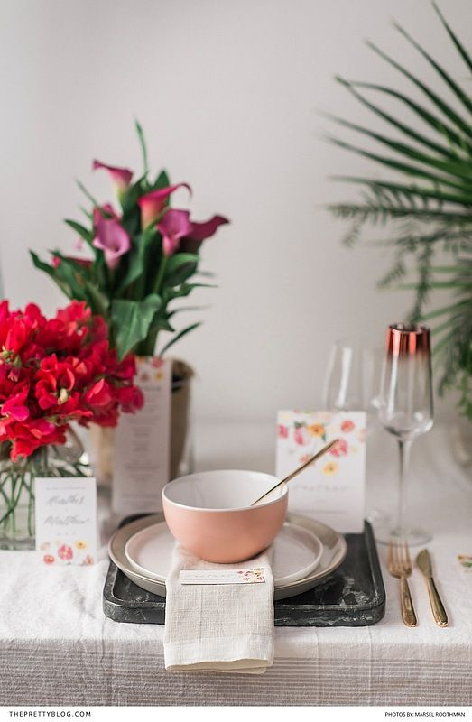 Blush bowls with rose gold cutlery and beautiful stationery! Add in textured linen and you've got the look! https://www.theprettyblog.com/wedding/colourful-florals-for-a-modern-beach-elopement/?utm_campaign=coschedule&utm_source=pinterest&utm_medium=The%20Pretty%20Blog&utm_content=Table%20Inspiration%3A%20Add%20a%20Dash%20of%20Pink%21