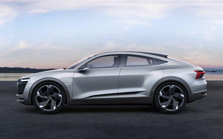 Descargar fondos de pantalla Audi е-Tron Sportback, 2018, la plata, el deportivo crossover, conceptos, Audi