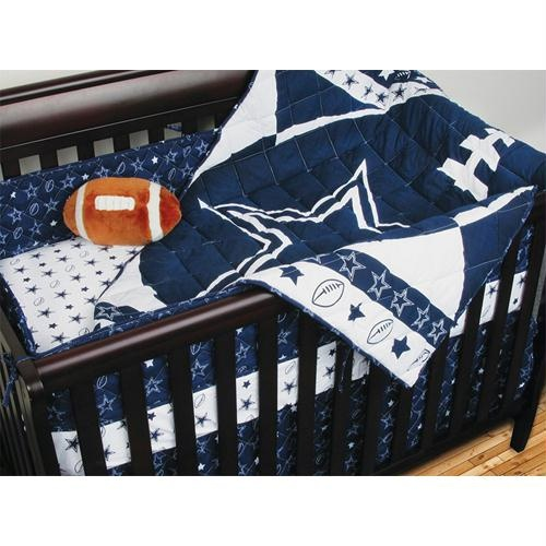 Dallas Cowboys NFL Micro Fiber Crib Set     $74.95 Sale: $71.20Save: 5% off        4 Piece Crib Set - Includes Comforter; Dust Ruffle; and 2 Fitted Sheets. Put your little Slugger to sleep in a crib where he can dream of the major leagues! Your favorite team is now in baby bedding! Baby soft and ultra durable!