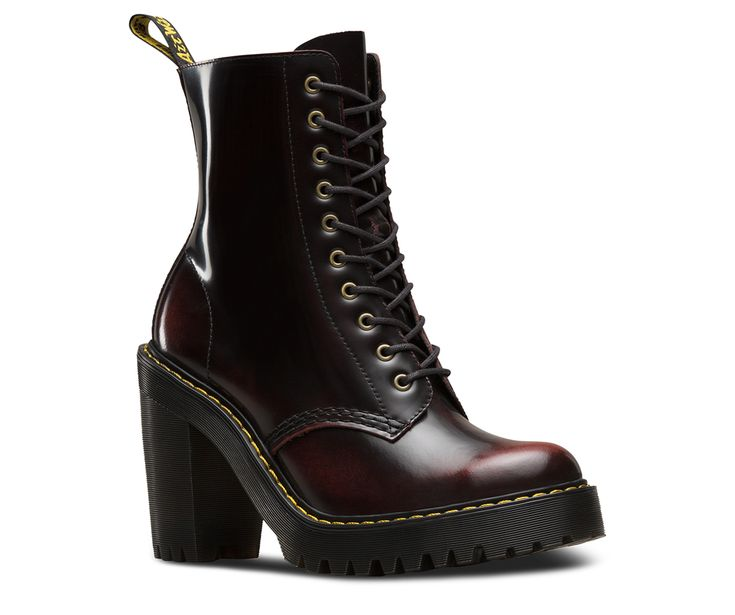 This is the Kendra, a feminine, tough 10-eye boot in cherry-red Arcadia leather. Extra height and street cred come in the form of a chunky commando tread sole and an empowering high heel—all underneath unmistakable Doc's DNA like grooved sides, yellow stitching and a scripted heel loop. Built on the iconic Dr. Martens air-cushioned sole, with superior abrasion and slip resistance Heel height is 4, and sole is 1