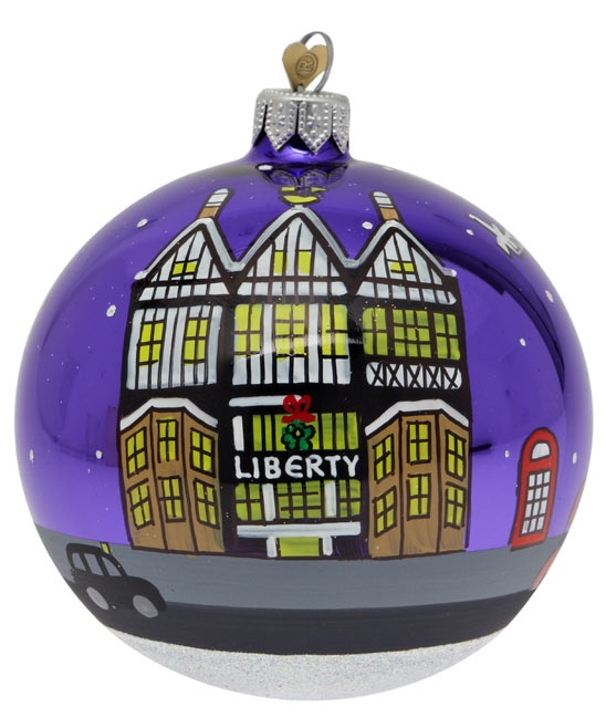 Liberty Tudor building Christmas tree decoration hand decorated with the iconic Liberty Tudor building.