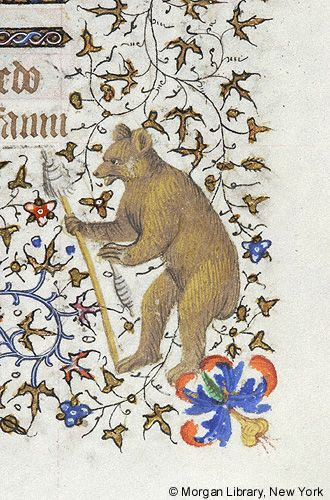 Hours of Charlotte Savoy...bear with distaff and spindle