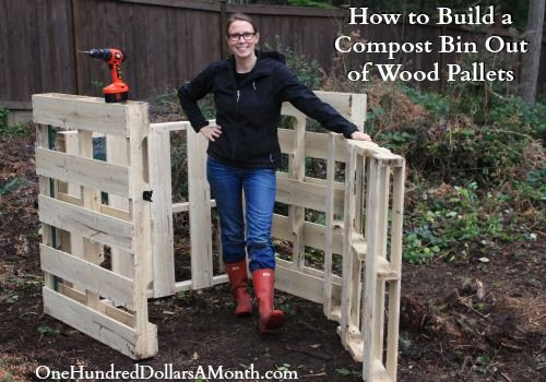 DIY Compost Bin out of Wood Pallets..Materials Needed: 4 Wood Pallets {5 if  you are going to build a floor/bottom, instead of just using the ground}, 14 Gauge Wire, 2 Hinges, 1 Latch, and 2  Landscape Poles or Long Sticks of Wood. Click photo for link to directions on how to build your own compost bin.