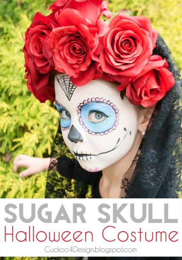 DIY no-sew sugar skull costume. Very easy to make! #diadelosmuertos #dayofthedead #sugarskull