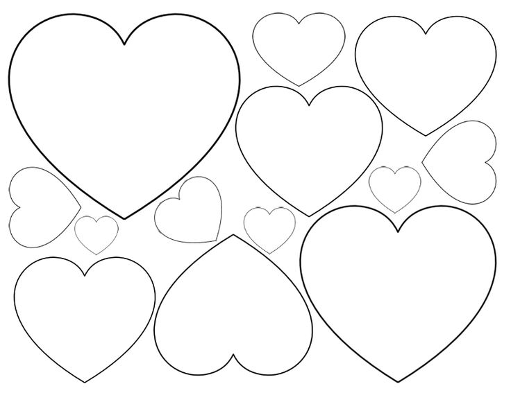 Printable Heart Shapes - Tiny, Small  Medium Outlines I Heart