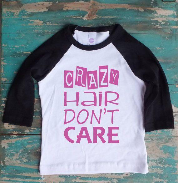Pink crazy hair don 39 t care toddler raglan by for Toddler t shirt printing