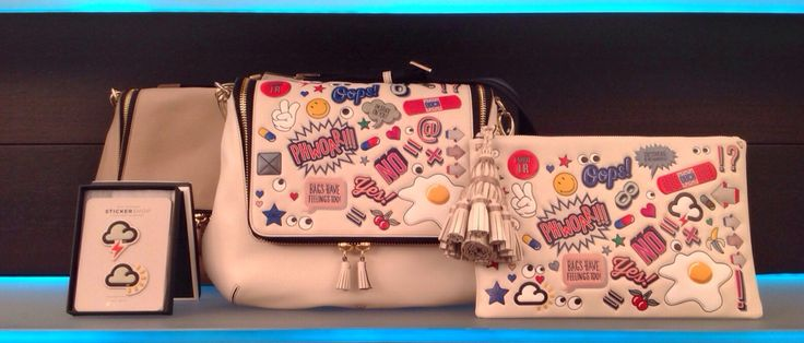 Weather stickers, maxi zip satchel, all over stickers georgiana by Anya Hindmarch at #IlDuomoNovara   www.ilduomonovara.it