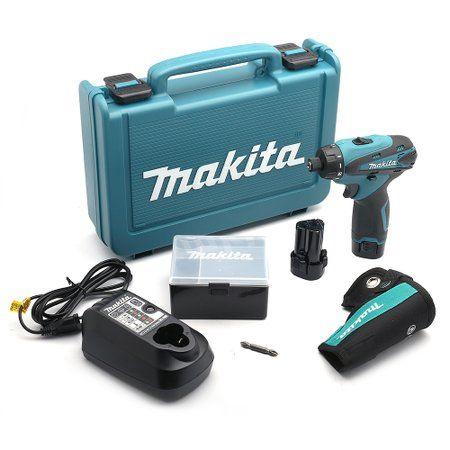 parafusadeira/furadeira 1/4 pol. à bateria de lítio 12v 110v com 2 baterias e maleta