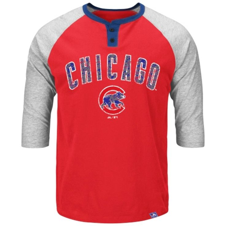 Majestic Chicago Cubs Red Force Play Three-Quarter Sleeve Henley T-Shirt