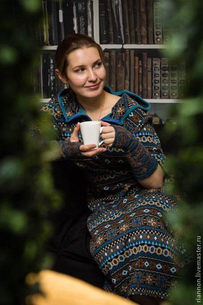 Индейские узоры - платье,теплое платье,авторская работа,длинное платье