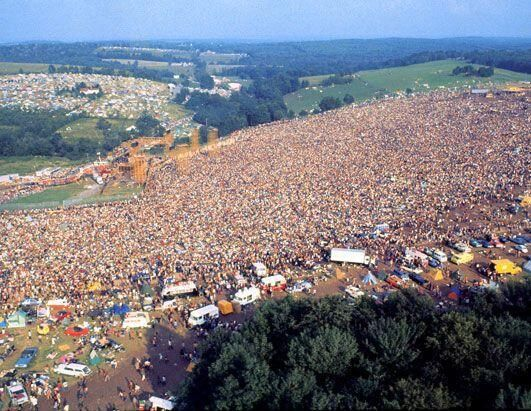 History In Pictures (@HistoryInPics) tweeted at 8:46 PM on Fri, May 02, 2014: Aerial shot of Woodstock in 1969