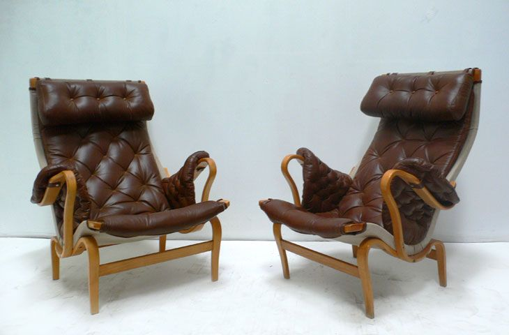 Pair of Pernilla Chairs designed by Bruno Mathsson in 1943. Manufactured by DUX in Sweden.