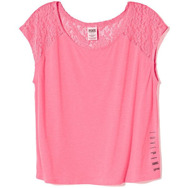 Victoria's Secret Lace-back Raglan Tee (320 EGP) ❤ liked on Polyvore featuring tops, t-shirts, bluzki, hot pink, scoop neck t shirt, hot pink t shirt, pink t shirt, raglan t shirt and scoop-neck tees