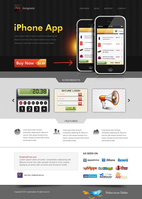 iPhone App website template (PSD)  http://www.graphicsfuel.com/2012/01/iphone-app-website-template-psd/