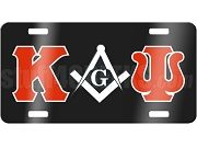 Kappa Alpha Psi License Plate with Mason Square and Compass on Black Background