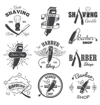 Second set of vintage barber shop emblems vector by IvanMogilevchik on…