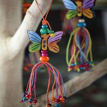 Creatieve Kleine Kleurrijke Hout Vlinder Kralen Gekleurde Draad Kwastje Handgemaakte Ambachten Windmolen Opknoping Decoraties Festival Gift(China (Mainland))