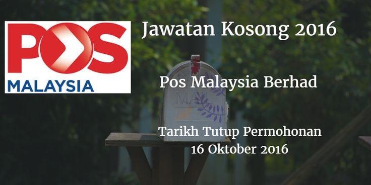 Jawatan Kosong Pos Malaysia Berhad 16 Oktober 2016  Pos Malaysia Berhad mencari calon-calon yang sesuai untuk mengisi kekosongan jawatan Pos Malaysia Berhad terkini 2016.  Jawatan Kosong Pos Malaysia Berhad 16 Oktober 2016  Warganegara Malaysia yang berminat bekerja di Pos Malaysia Berhad dan berkelayakan dipelawa untuk memohon sekarang juga. Jawatan Kosong Pos Malaysia Berhad Terkini Oktober 2016 TARIKH : 16 Oktober 2016 MASA : 9.00 PAGI - 4.30 PETANG PUSAT TEMUDUGA : PEJABAT TENAGA KERJA…