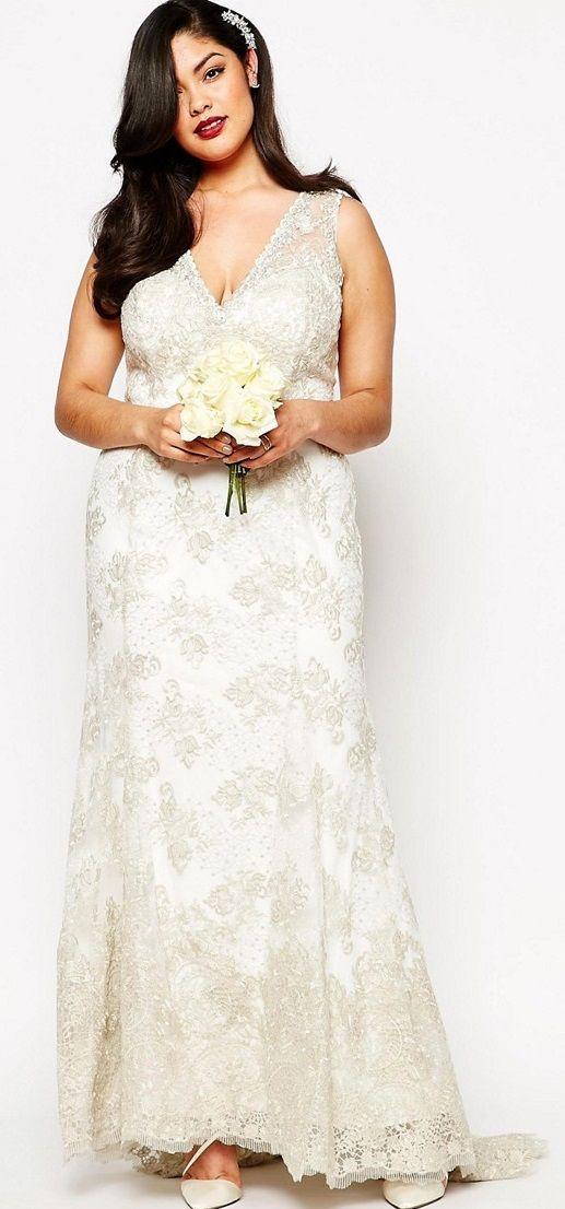 Affordable plus size lace wedding dresses