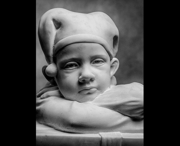 Michal Jackowski, DREAMER, Carrara white marble, 36 x 40 x 40 cm, 2013  #sculptures #humans #antique #pinart #creative #passion #love #art #classic #clown #kids
